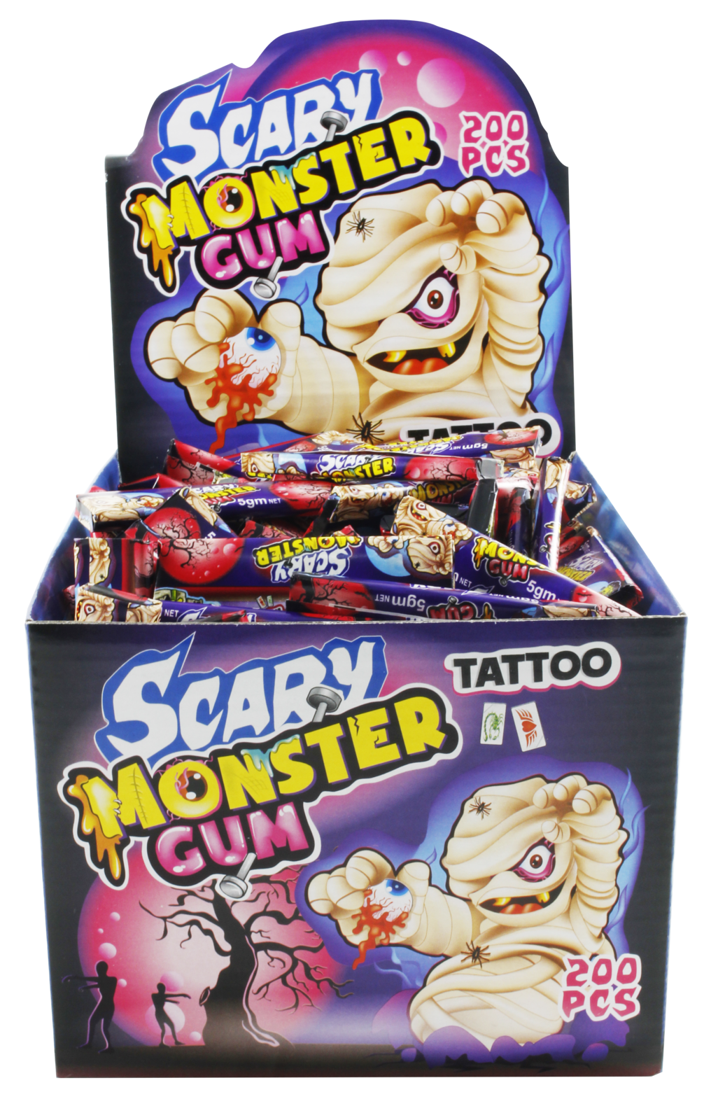 HALLOWEEN SCARY MONSTER GUM & TATTOOS - 200 PIECES