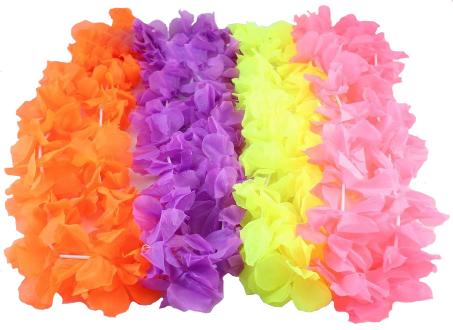 HAWAIIAN FLOWER LEIS - NEON 4 COLOUR ASSORTED PACK OF 36 SPECIAL