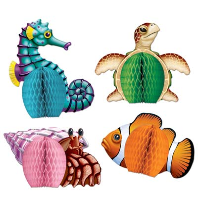 SEA CREATURE HONEYCOMB PLAYMATE CENTREPIECES PACK OF 4