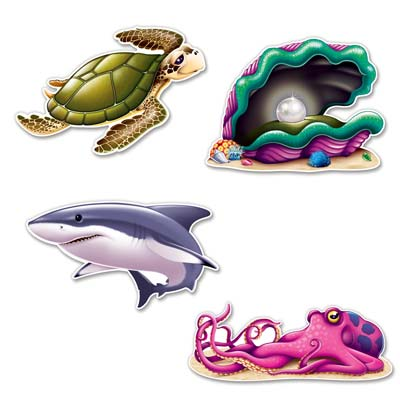 UNDER THE SEA CUT CREATURE OUTS PACK OF 4