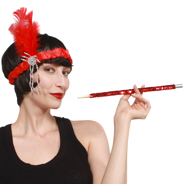 LADIES 1920'S STYLE SEQUINNED CIGARETTE HOLDER - 4 COLOURS AVAIL