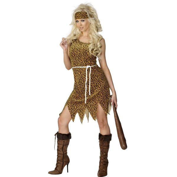 SEXY CAVE WOMAN FANCY DRESS COSTUME - MEDIUM