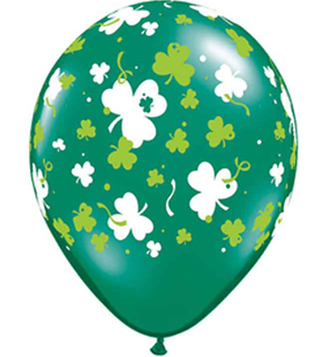 BALLOONS LATEX - SHAMROCK CONFETTI & DOTS PRINT PK OF 6