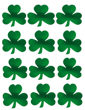SHAMROCK CUT OUT SILHOUETTES - SMALL PACK OF 10