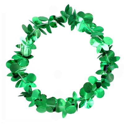 IRISH GREEN SHAMROCK FOIL DESIGN LEI