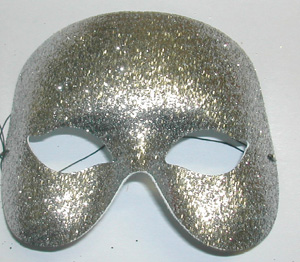 MASK - SILVER GLITTERED 1/2 FACE