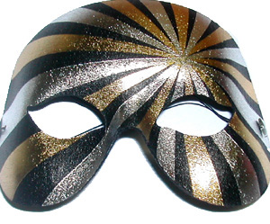 MASK - GOLD BLACK & SILVER STRIPED