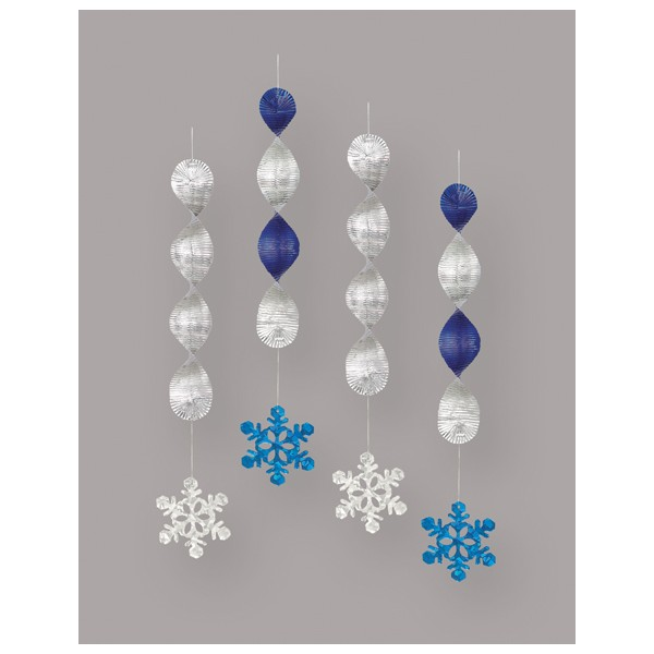 SNOWFLAKE PRISMATIC FOIL HANGING DECORATIONS