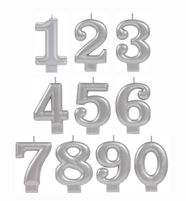 NUMERICAL CANDLES - METALLIC SILVER - NUMBERS 0-9