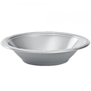 DISPOSABLE DESSERT OR SNACK BOWL SILVER - PACK OF 25
