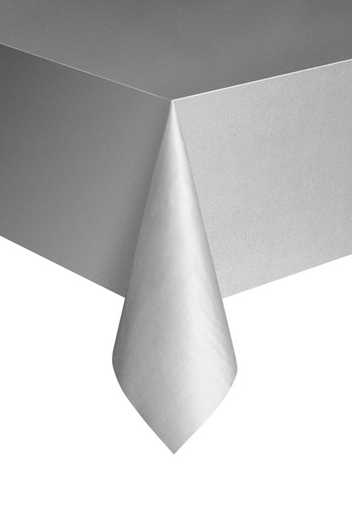 DISPOSABLE TABLECOVER - RECTANGULAR SILVER