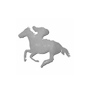 FOILBOARD SILVER HORSE & JOCKEY SMALL CUT OUTS - PACK OF 12