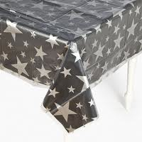 DISPOSABLE TABLECOVER - CLEAR WITH SILVER STARS