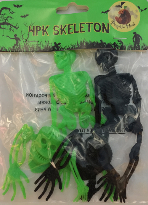 PARTY FAVOURS - BLACK & GREEN SKELETONS - PACK OF 4