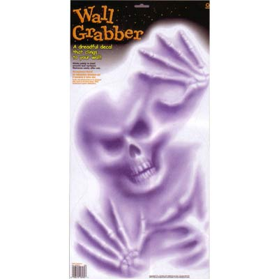 WINDOW CLING -HALLOWEEN/SCARY GRABBER SKELETON HEAD THRU GLASS