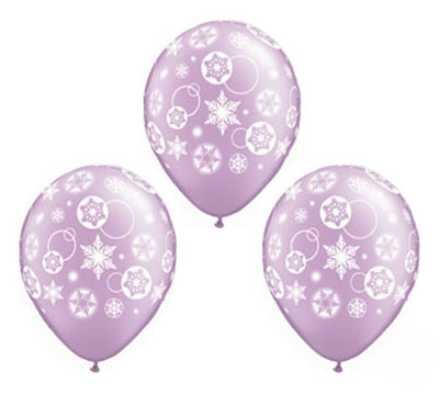 balloon latex - snowflakes and circles lavender