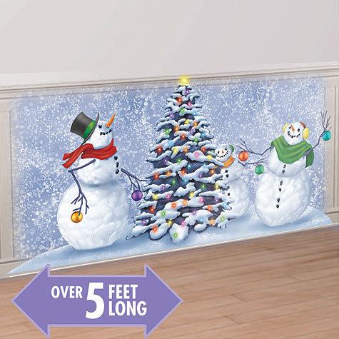 Christmas Scene Setters Australia.Snowmen Playing Scene Setter Add On