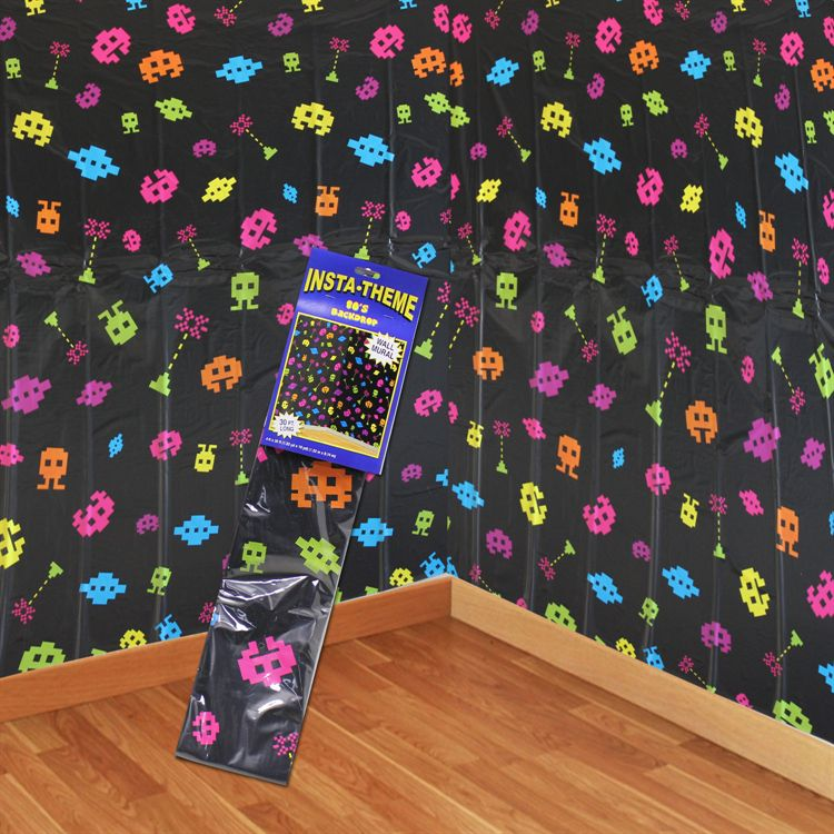 INSTA THEME - 80\'S SPACE INVADER VIDEO GAME WALL BACKDROP