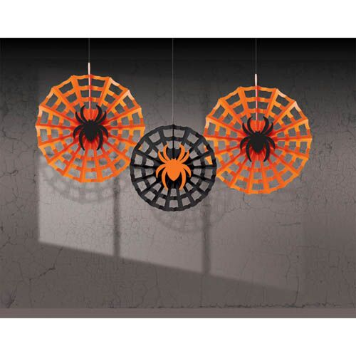 HALLOWEEN FAN DECORATIONS SPIDERWEB WITH SPIDER - PACK OF 3