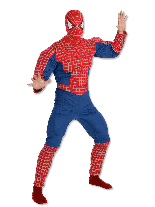SPIDERMAN ADULT DELUXE COSTUME WITH MUSCLED CHEST - ONE SIZE
