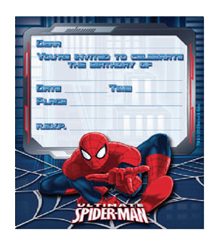SPIDERMAN ULTIMATE INVITATIONS PACK OF 8