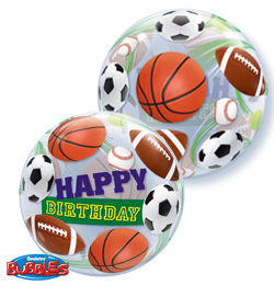 BUBBLE BALLOON - SPORT BALLS \'HAPPY BIRTHDAY\'