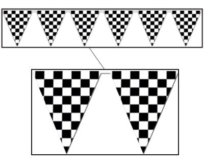 CHECKERED FLAG PENNANT BANNER - SMALL PENNANTS
