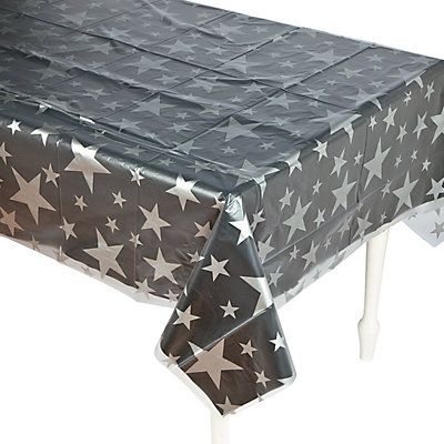 DISPOSABLE TABLECOVERS RECTANGULAR - CLEAR WITH STARS