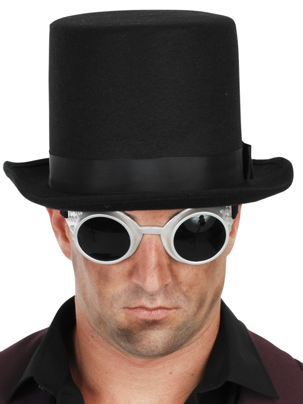 STEAM PUNK TOP HAT WITH GOGGLES - BLACK