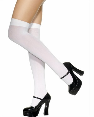 OPAQUE WHITE OVER THE KNEE STOCKINGS