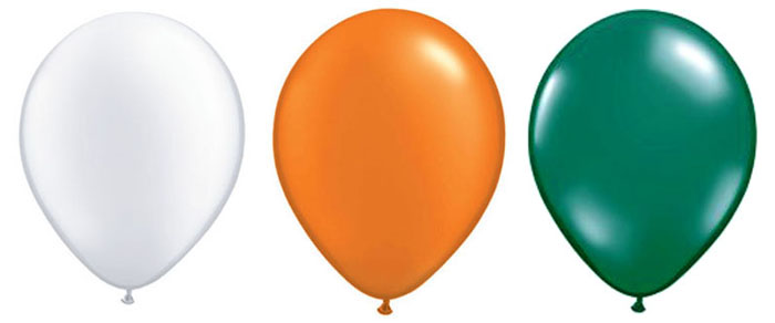 BALLOONS LATEX - IRISH FLAG GREEN, WHITE & ORANGE PRO PACK 15