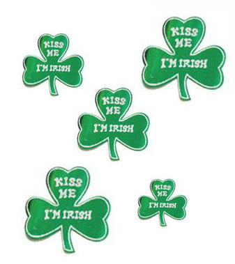 SHAMROCK GLITTER 'KISS ME I'M IRISH' CUTOUTS PACK OF 5