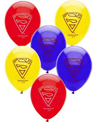 BALLOONS LATEX - SUPERMAN PACK OF 6