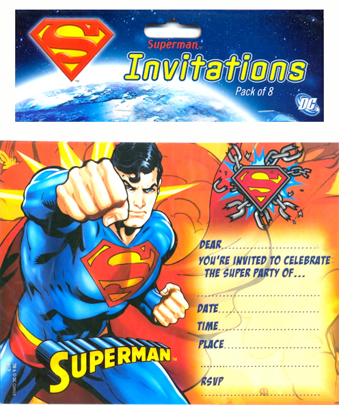 SUPERMAN INVITATIONS - PACK OF 8