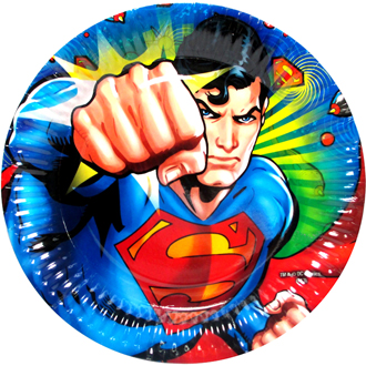 SUPERMAN PARTY PLATES - PACK OF 8