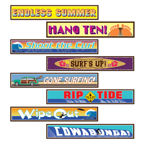 BEACH SURFER STREET SIGN CUTOUTS - PACK OF 4
