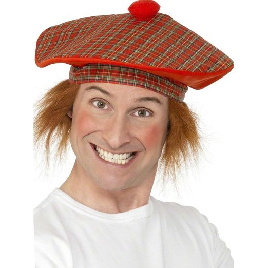 TAM O SHANTER TARTAN SCOTTISH HAT WITH ORANGE HAIR