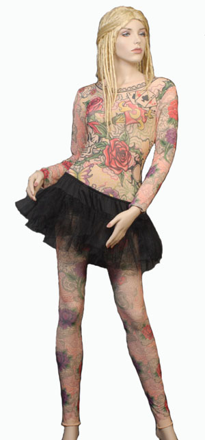 ROSE TATTOO LADY FANCY DRESS SHIRT & LEG COVERS - MEDIUM/LARGE
