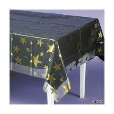DISPOSABLE TABLECOVER CLEAR WITH GOLD STARS