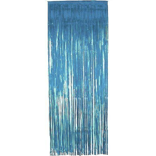 METALLIC FOIL CURTAIN - TEAL