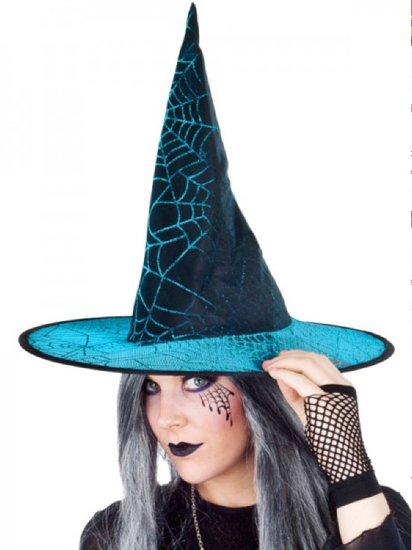 ADULT WITCH HAT TEAL WITH SPIDERWEBS