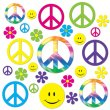 RETRO HIPPIE 60'S CUTOUTS PACK OF 42