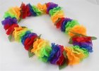 HAWAIIAN FLOWER LEIS - MULTI COLOURED WITH GREEN LEAVES PACK 24