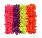 HAWAIIAN FLOWER LEIS - NEON 4 COLOUR ASSORTED PACK OF 12 SPECIAL