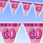 GLITZ PINK 60TH BIRTHDAY FLAG BUNTING 3.6M