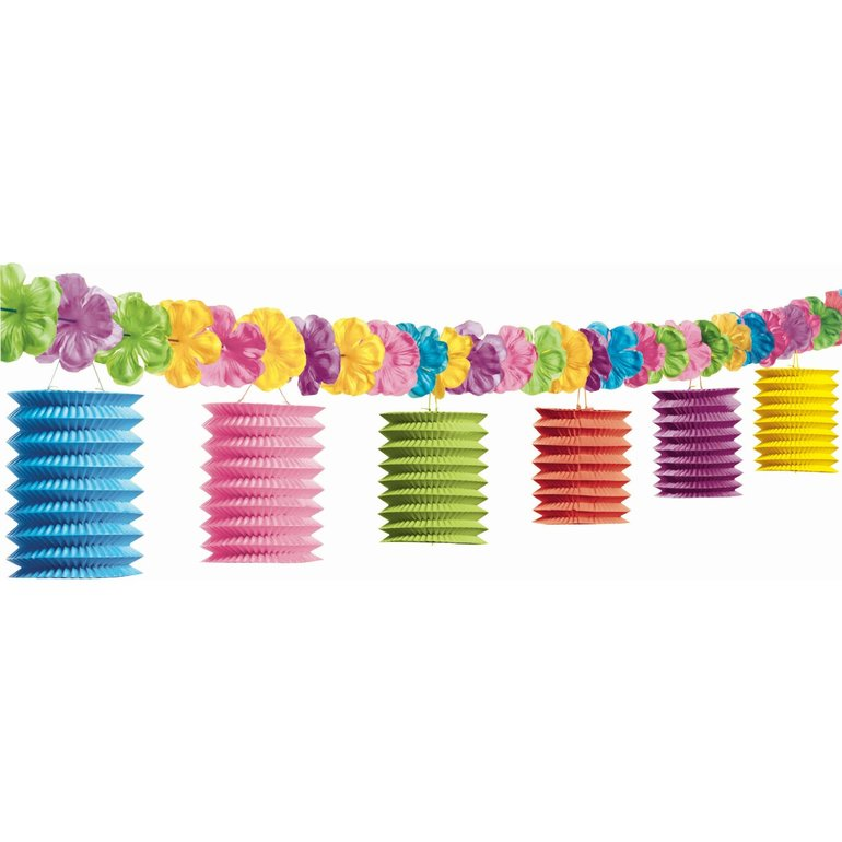PAPER LANTERN TIKI LOUNGE GARLAND WITH FLOWERS