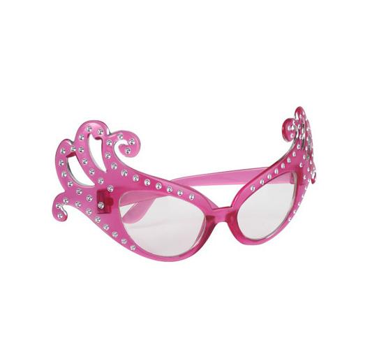 Image of Dame Edna Type Glasses  Transparent Pink