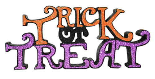 HALLOWEEN TABLE TOP SIGN DECORATION - TRICK OR TREAT