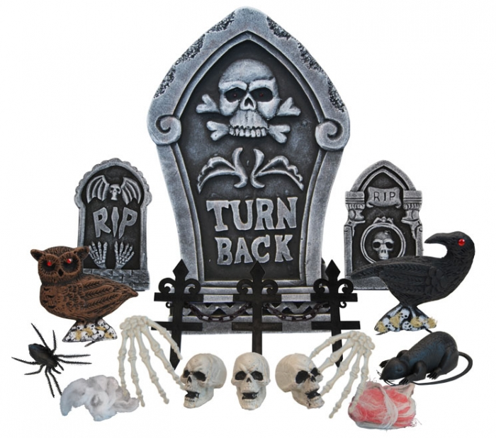 HALLOWEEN LIGHT UP TOMBSTONE 'TURN BACK' COLLECTION 24 PIECE SET