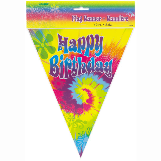 TYE DYE FLAG BANNER WITH 'HAPPY BIRTHDAY' PRINT